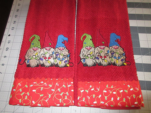 Dishtowel - Gnomes on Red with red border