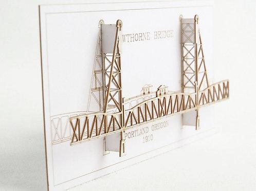 Laser Cut Card of Hawthorne Bridge in Portland