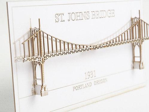 Laser Cut Card of St Johns Bridge in Portland