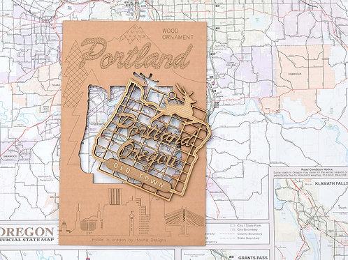 Portland Oregon Sign Wood Ornament