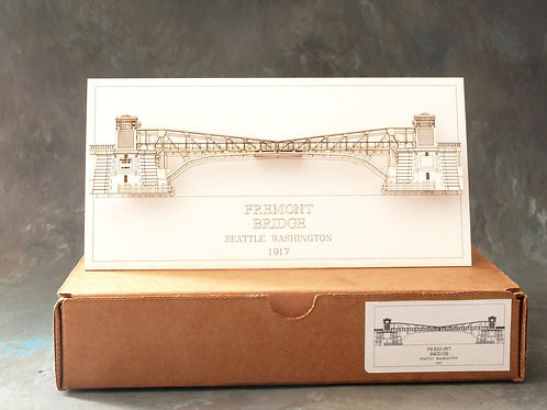 Laser Cut Card of Fremont Bridge in Seattle