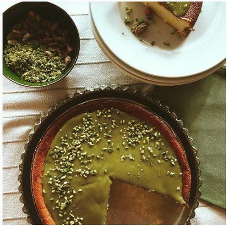 Torta morbida di ricotta con crema di pistacchi