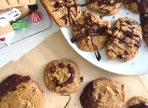Healthy Christmas Treats Recipe ~ Peanut Butter Chocolate Dipped Cookies