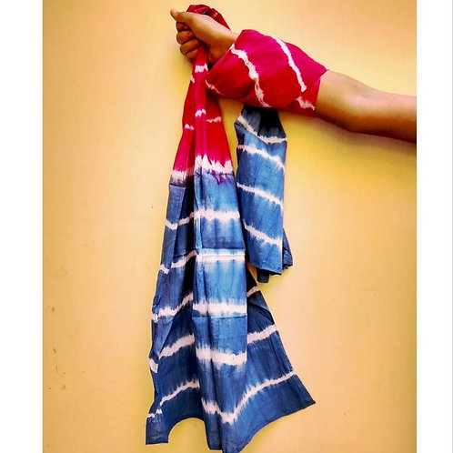 Ocean Blue Tie and Dye Cotton Scarf