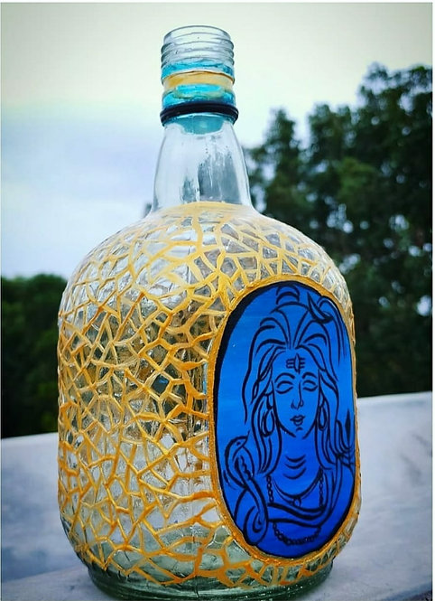 Blue Shiva Handpainted Bottle