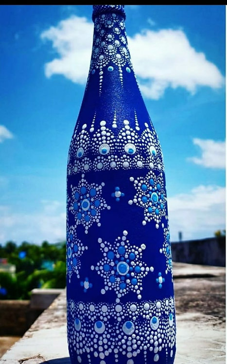 Persian Blue Handpainted Mandla Bottle