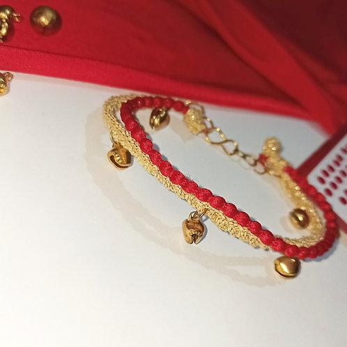 Golden Red Ghunghroo Anklet