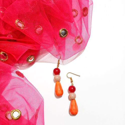 Orange Drop Bead Earrings