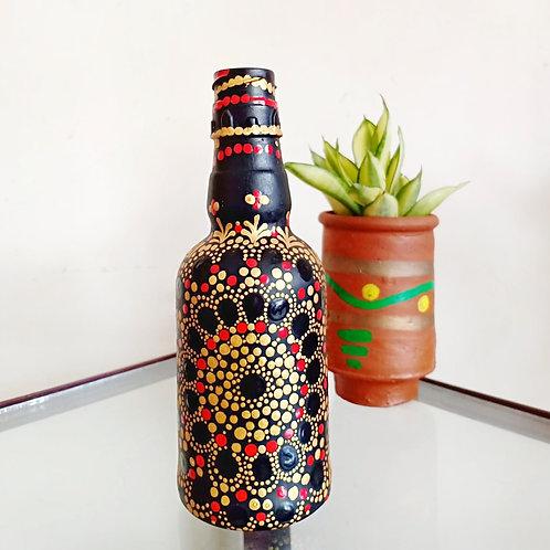 Golden Flower Handpainted Bottle