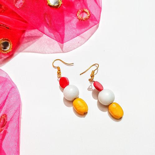 Yellow Charm Bead Earrings