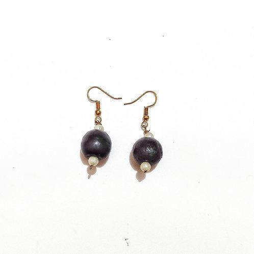 Black Beauty Wooden  Bead Earrings