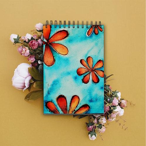 Teal Orange Floral Sketch Book