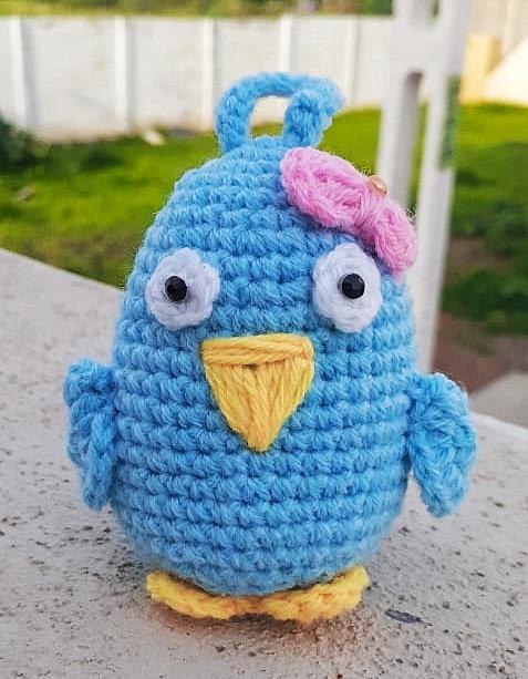 Blue Dunkin Duck Hand Crochet Décor