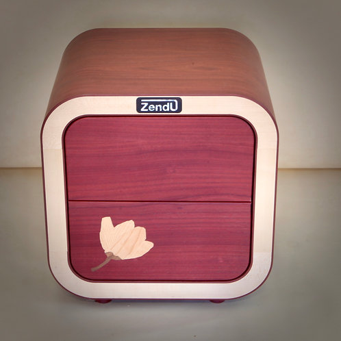 Desk container with magnolia flower inlay - 50 x 44 x 52 cm