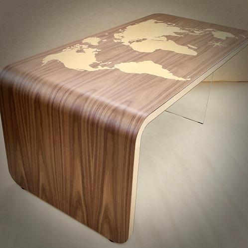"""Zendu """"Levitating"""" Schreibtisch mit Einlage der Weltkarte: 180 x 90 x 77 cm"""