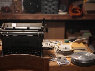 The collector's typewriter in underground lair set