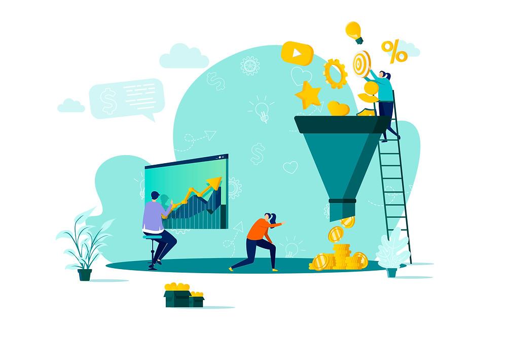 Visual representation of a marketing funnel
