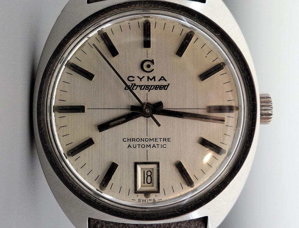 1968 Cyma Ultraspeed Chronometer Crosshair Dial