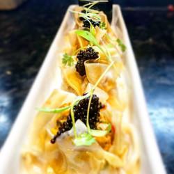 Monkfish & King Prawn Dim-sum with cavia