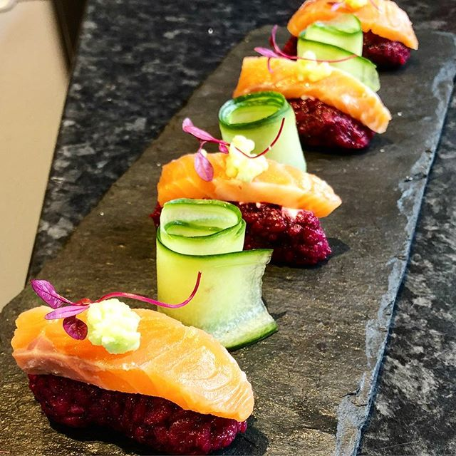 beetroot infused sushi rice & wasabi ta