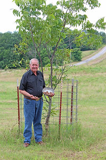 Carrel Bryant shows off some of the pecans grown on Bryant Farms near Ada, Oklahoma.