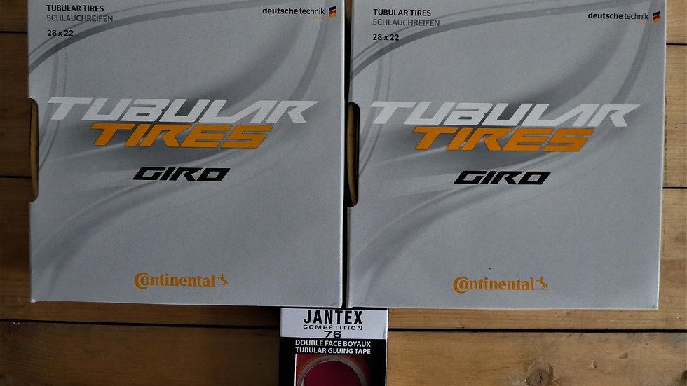 Continental Giro Tubular Pair(2) + Tub Tape inc 700x 22 tyre (New In Sealed Box)