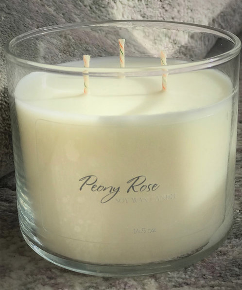 Peony Rose 3-Wick Soy Wax Candle  14.5 oz