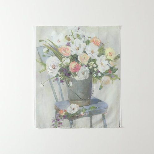 """Fleurs sur Chaise Wall Tapestry 34"""" x 40"""""""