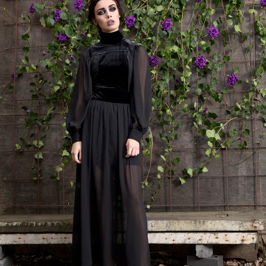 Enchantress Velvet Chiffon Maxi Dress