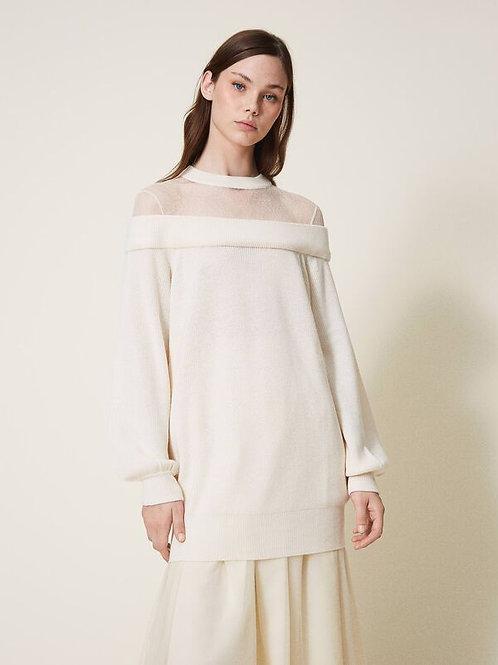 Maxi maglia in misto lana con tulle