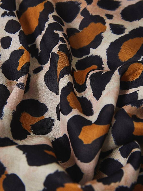 Foulard a stampa animalier con pizzo