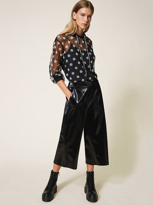 Pantaloni cropped in vernice Twinset