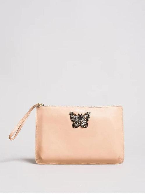 Pochette in pelle con farfalla