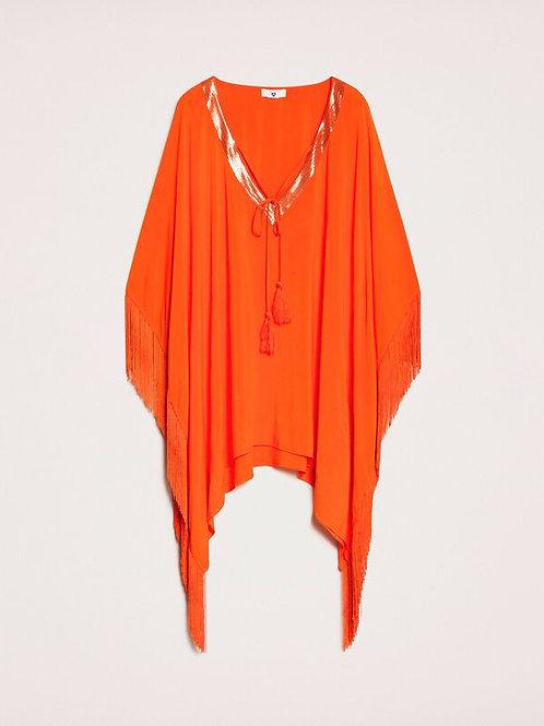 Caftano a kimono con frange