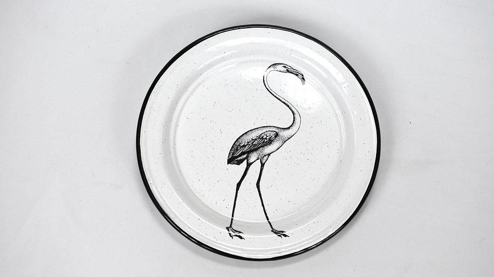 Enamel Salad Plate - Flamingo