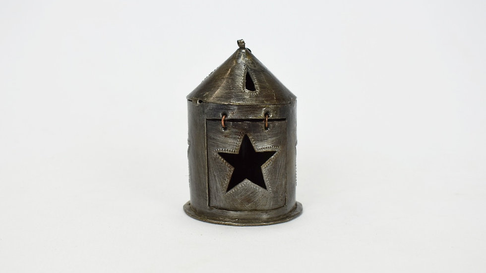 Mini Round Lantern with Star Cutout