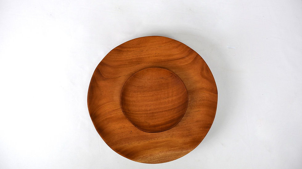 Small Round Haitian Handcarved Mahogany Plate