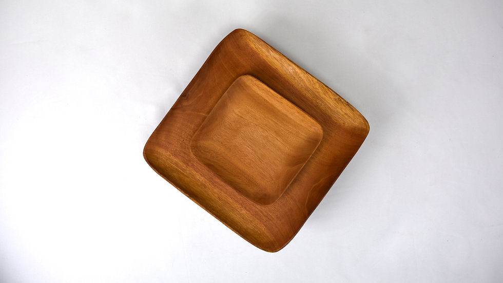 Small Square Haitian Handcarved Mahogany Plate