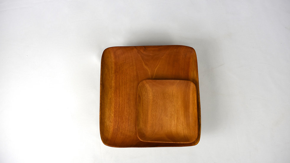 Large Square Haitian Handcarved Mahogany Plate