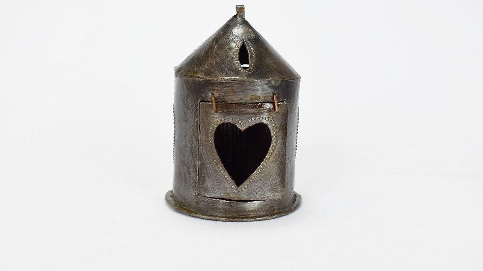 Mini Round Lantern with Heart Cutout