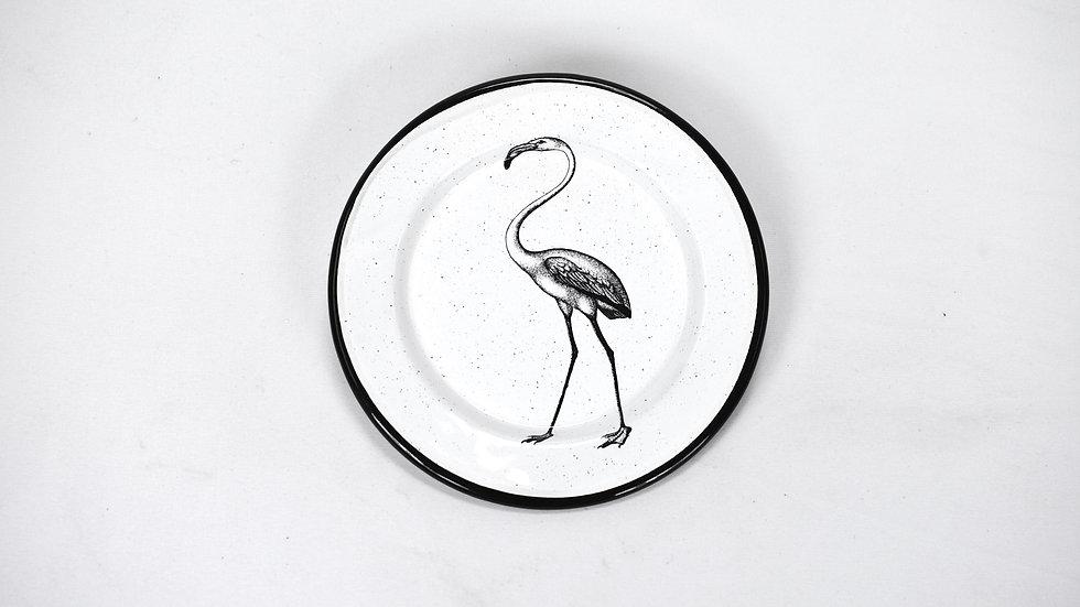 Enamel Appetizer Plate - Flamingo