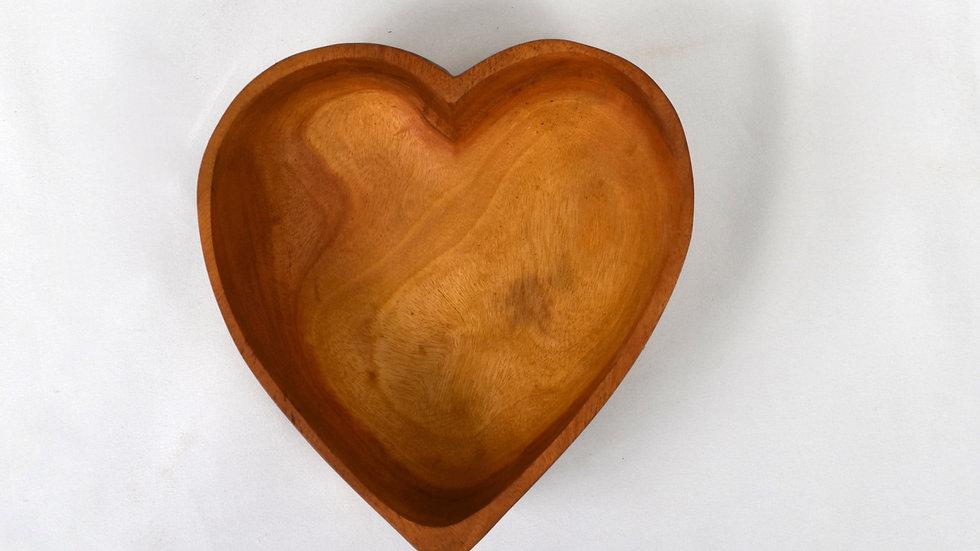 Haitian Handcarved Mahogany Heart Bowl