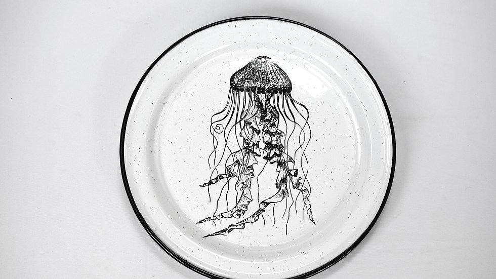 Enamel Dinner Plate - Jellyfish