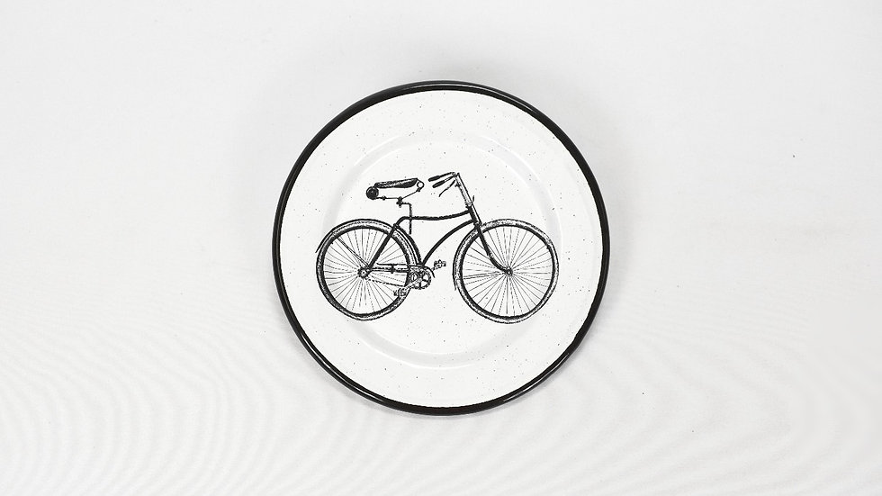Enamel Appetizer Plate - Bicycle