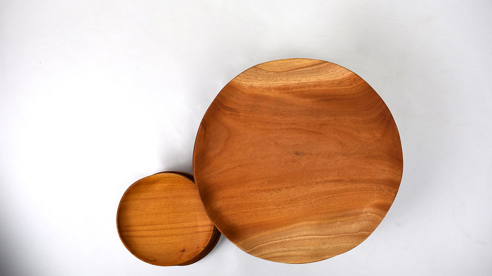 Large Round Haitian Handcarved Mahogany Plate