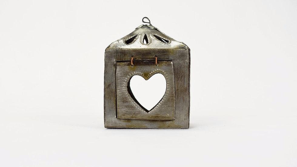 Mini Square Lantern with Heart Cutout