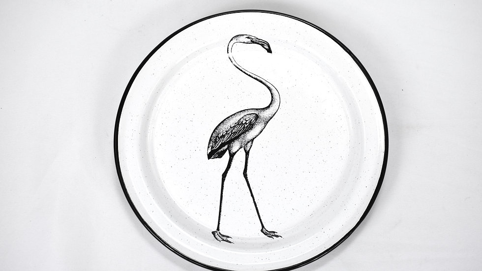 Enamel Dinner Plate - Flamingo