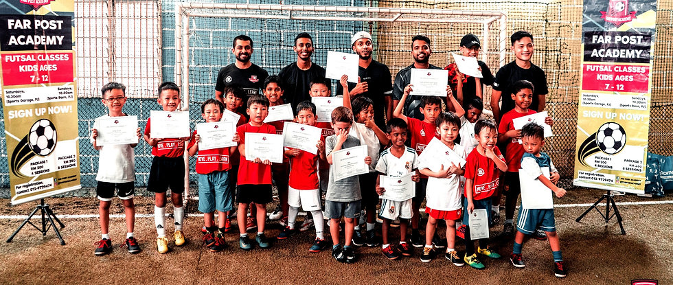 Far Post Academy Futsal Class - Certified futsal coaches and students holding certificates on futsal pitch