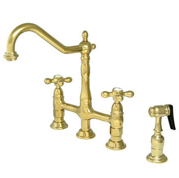 Victorian Style Kitchen Deck Mt. Faucet w. Sprayer