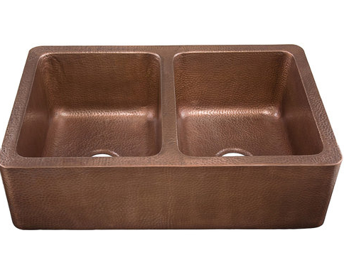Hammered Copper Double Bowl Apron Sink